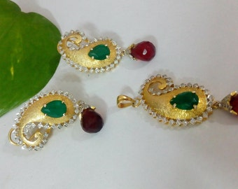 Gold Plated Mango Pendant and Earrings Set