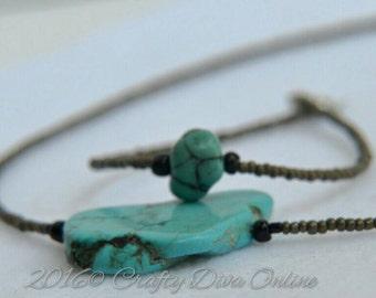 Stone Gray Beaded Necklace & Bracelet Set