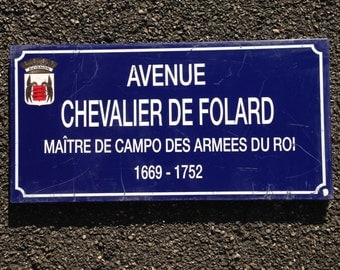 French Street Enamel Sign Plaque - RARE FROM AVIGNON metal Folard