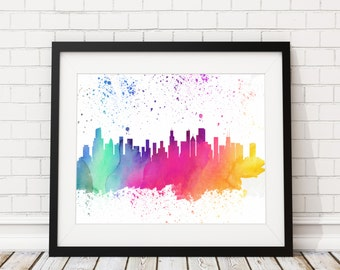 Chicago Skyline Watercolor Print - Cityscape Print - Chicago Watercolor Art - Chicago Skyline Painting - Watercolor Painting Poster Wall Art