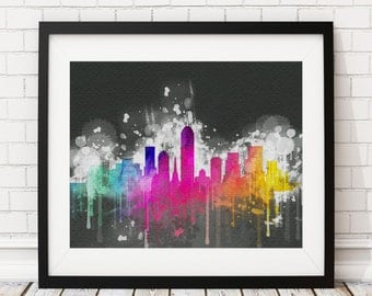 Indianapolis Skyline Print, Indianapolis Art, Indianapolis Print, Watercolor Art, Watercolor Painting, Watercolor Skyline, Poster, Grunge