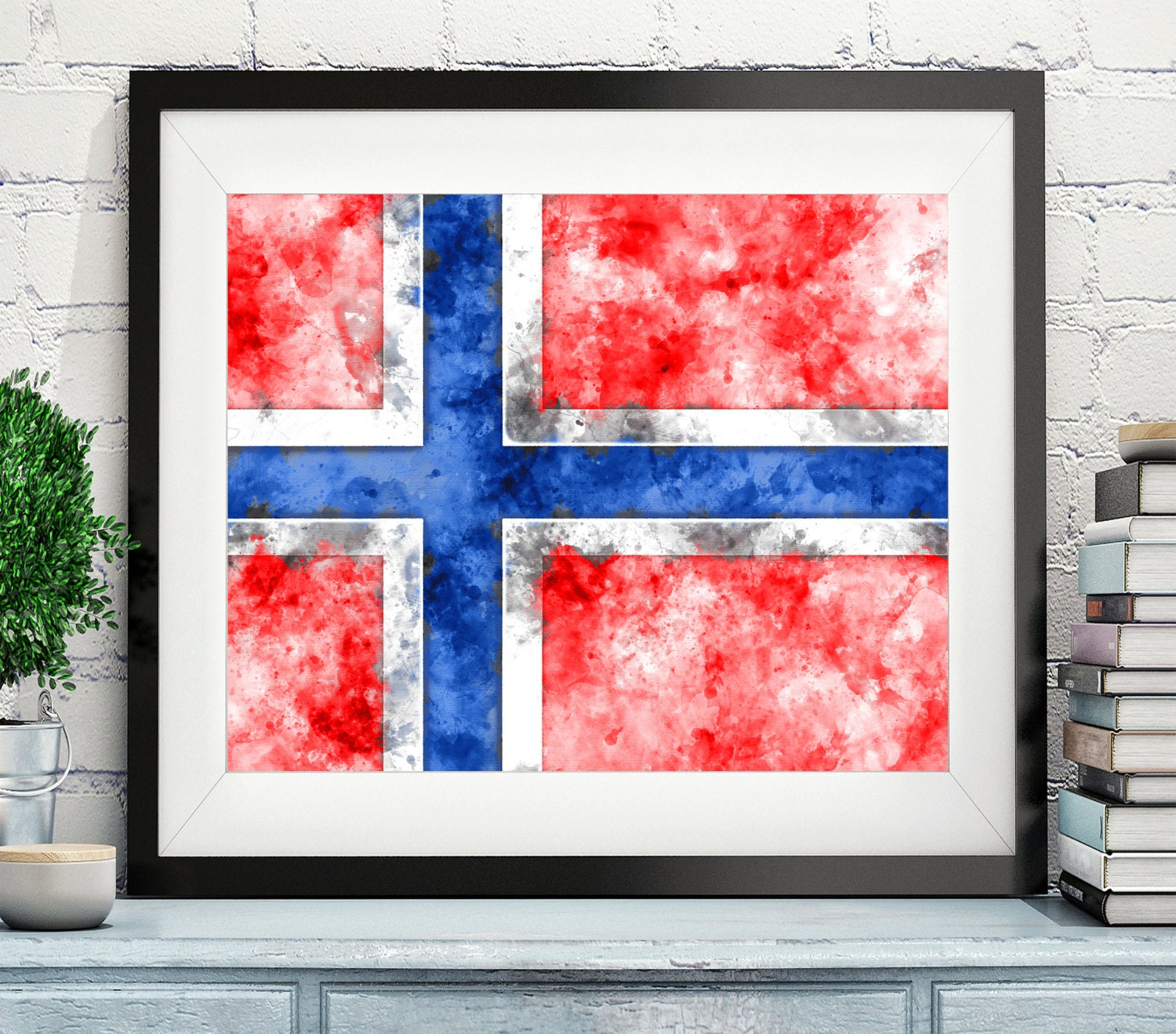 norway flag art norway flag print norwegian flag poster country