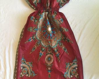 Maroon red Kente Gown