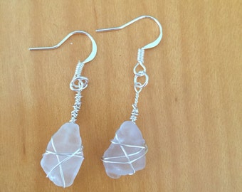 Clear sea glass drop earrings