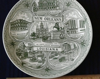 Vintage New Orleans Collectors or Souvenir  Plate. The Cabildo, St. Louis Cathedral, Jackson Square, The French Quarter, Street  Car