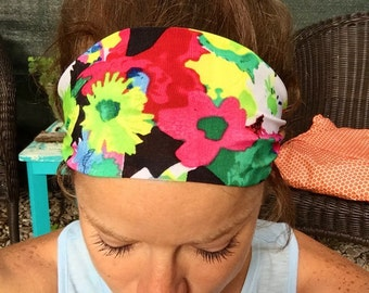 SWEAT WICKING- Yoga/Fitness/Running Wide Headband- FlowerField