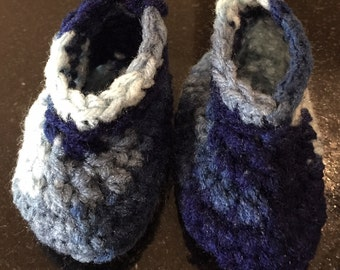 Blue multi-colored Baby Booties