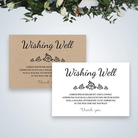 Printable Wedding Wishing Well Card Rustic By EliteWeddingPaper