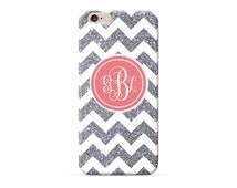 Monogram iPhone 7 Case, iPhone 6/6s Case, iPhone 6s Plus Case, Bling bling Sliver Pink Monogram Personalised Chevron Case (NOT REAL Glitter)