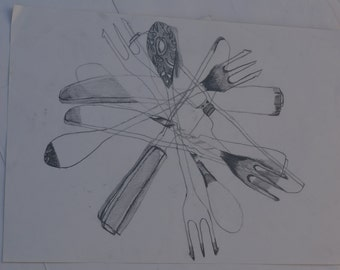 fork and knife pile