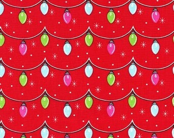 Twinkly Lights Fabric by Michael Miller - Red