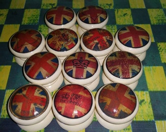 Assorted Union Jack Decoupage Drawer Knobs