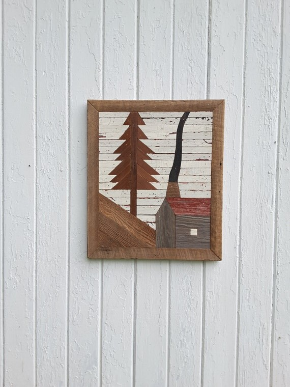 Reclaimed wood wall art wall decor mountain cabin geometric for Cabin in the woods wall mural