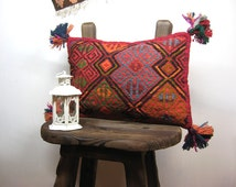 Hand embroidered kilim Rug pillow, kilim pillow cover, Boho Traditional Hand Woven & Hand stitching, Both faces are kilim.