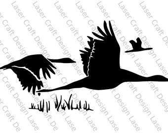 Flying Swans Stencil