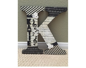 Music themed wooden customizable letter with name