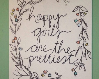 Happy Girls are the Prettiest Painting- Audrey Hepburn Quote- Canvas 8x10