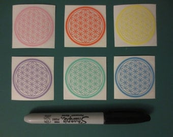 Flower Of Life Sticker Pack - Sacred Geometry, Die Cut Stickers, Vinyl Decals, Pastel Colors, Free Shipping