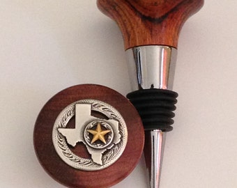 Texas Silver with Gold Star Wine Stopper with hand turned Rosewood top