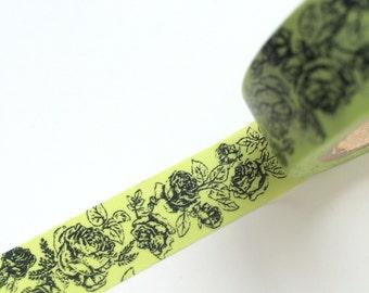 15mm x 10m washi masking tape - green, black, flower (yu)