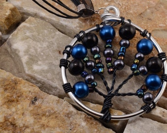 Tree of life black, blue and silver necklace