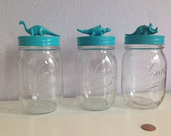 Set of three one pint jars, with dino lids in blue