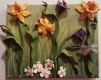 3D flowers on canvas by Sandy McTier