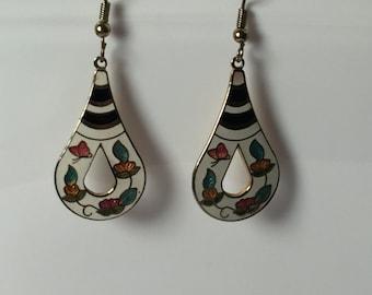 Vintage Earrings teardrop shape goldtone and epoxy - butterfly black white hanging pierced