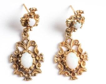 Vintage Opal & Gold Filigree Dangling Chandelier Earrings, VJ #184