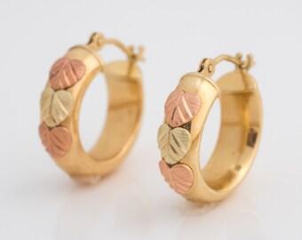Vintage Autumn Leaf Yellow & Rose Gold Small Hoop Earrings, VJ #213