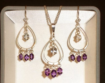 Natural Amethyst with White Topaz pendant & earring set in .925 Sterling Silver