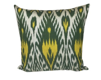 Green Yellow Decorative Ikat Cushion Pillow Cover, 45 x 45 cm