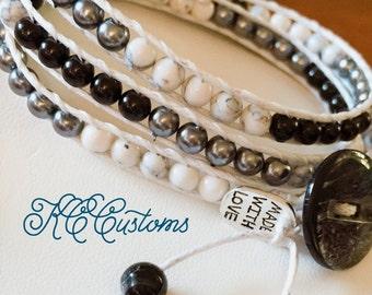 Black, white, grey wrap bracelet