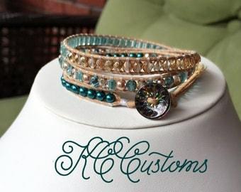 Teal and brown bracelet