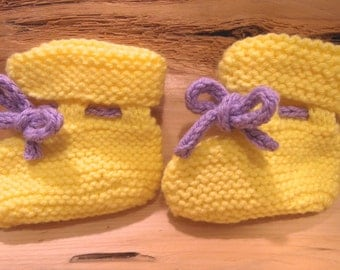 Baby Booties, Yellow and Violet