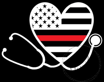Nurse Stethoscope Supporting Firefighter Wife and Paramedic Thin Red Line Heart Vinyl Decal