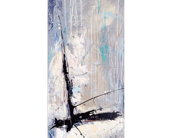 """Abstract painting, abstract painting, canvas, seascape, vertical wall art, canvas, ikouart, Isabelle Couture, 15 """"x30x1.5 vertical"""""""