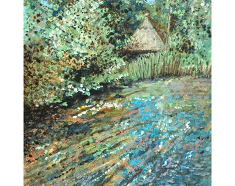 Painting print,Landscape prin,'Stream at Mottisfont', limited edition,wall art,chalk stream,River scene, Hampshire,Impressionist,Giclee