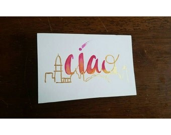 Ciao / Gold and Pink Print / Ciao bella / Italy Skyline / metallic gold