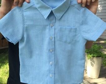 Boys' Blue Short-Sleeved Dress Shirt 3T