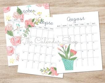 Printable 2017 Calendar, Yearly Calendar, 12 Month Calendar, Planner, Floral Design, Pink, Teal, Yellow
