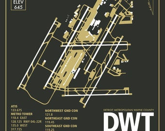 DWT Detroit Metropolitan International Airport Michigan Travel Infographic Art Print Paper Variety Colors and Styles Home or Office Decor