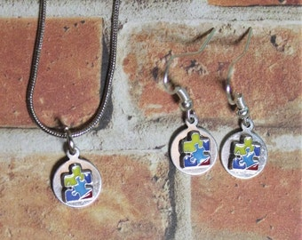 Autism Awareness Puzzle Piece Necklace and Earring Set