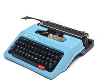 Blue 70s Robotron typewriter