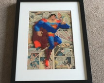 Superman framed pixel bead art picture with comics background 30x40cm DC Comics (Perler Beads & Hama Beads)