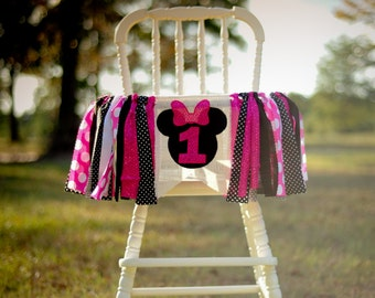 Minnie Mouse inspired First Birthday High Chair banner, high chair garland, smash cake photo prop