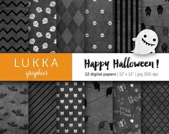 Halloween digital paper pack; ghost pattern, skull pattern, bat pattern, raven pattern, quatrefoil, argyle; black and gray