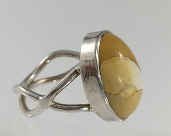 Vintage Estate Sterling Silver AMAZING Polished Yellow White Peanut Jasper Ring US Size 6 Ring 925 Jewelry Jewellery For Her