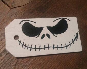 Jack skellington wooden gift tag