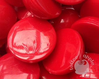 FREE P&P 20mm Bright Red Domed Half Sphere Cabochons